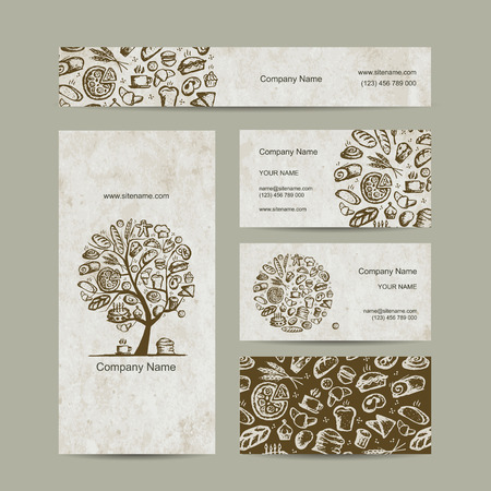 coffee tree: Bakery business cards design. Vector illustration