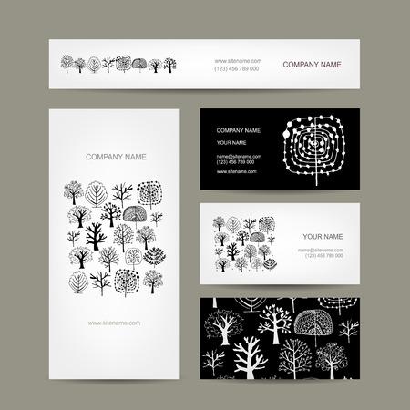 tree texture: Business cards design, art trees. Vector illustration Illustration