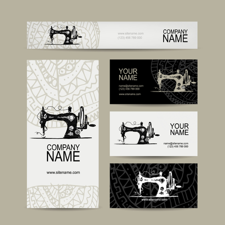 identity: Business cards design, sewing maschine sketch, vector illustration