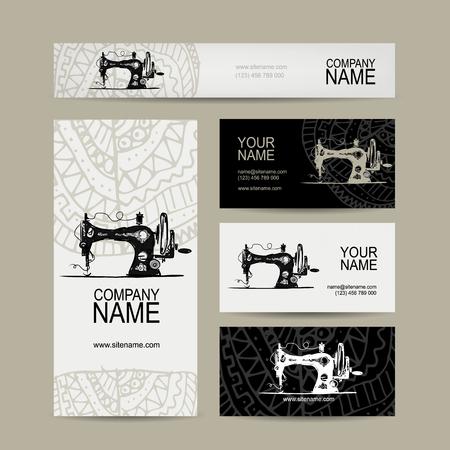 Visite kaartjes ontwerpen, naaien Maschine schets, vector illustratie