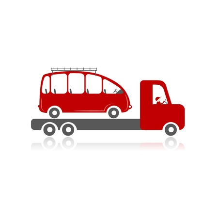 lift and carry: Evacuator with car for your design. Vector illustration