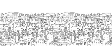 old city: Abstract cityscape background, seamless pattern for your design. Vector illustration