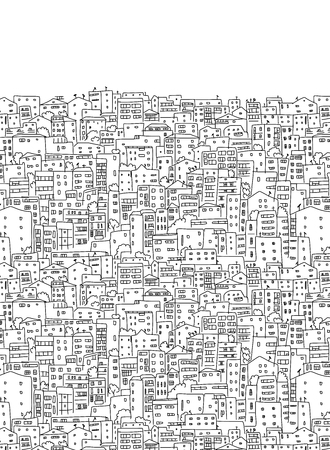 old houses: Abstract cityscape background, seamless pattern for your design. Vector illustration