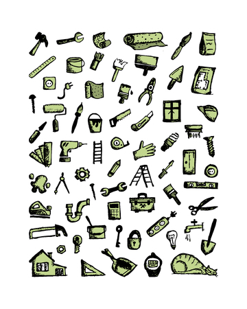 house painter: Repair icons, sketch for your design. Vector illustration Illustration