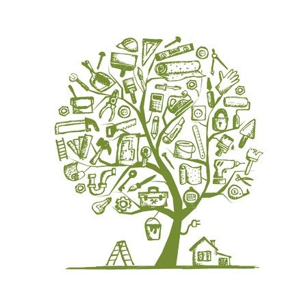 casa de campo: Reparación de la casa, árbol de concepto para el diseño. Ilustración vectorial Vectores