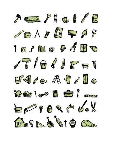 design interior: Repair home icons, sketch for your design. Vector illustration