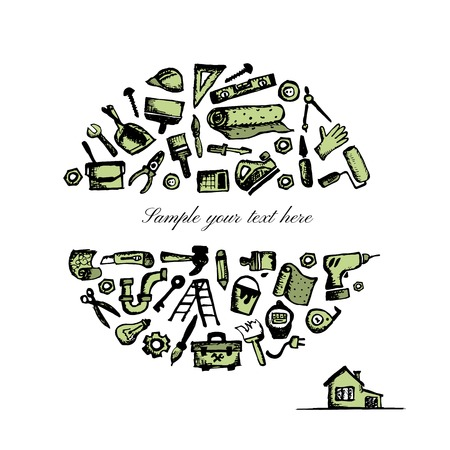 house painter: Repair home background, sketch for your design. Vector illustration Illustration