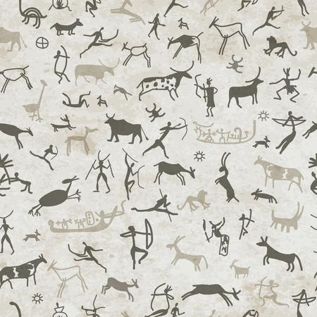 peinture rupestre: Les peintures rupestres avec des gens ethniques, seamless, illustration vectorielle