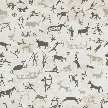 pintura rupestre: Pinturas rupestres con población étnica, sin patrón, ilustración vectorial