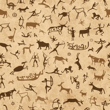 spear: Rock paintings with ethnic people, seamless pattern, vector illustration Illustration