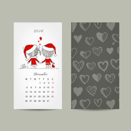 Calendar grid 2016 design. Couple in love together. Vector illustration