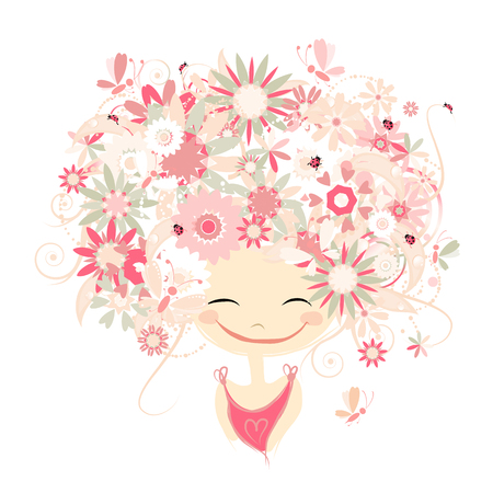 female portrait: Female portrait with floral hairstyle for your design. Vector illustration