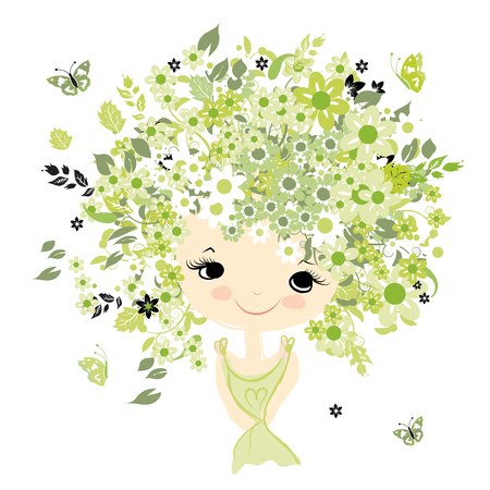 child hair: Female portrait with floral hairstyle for your design, vector illustration