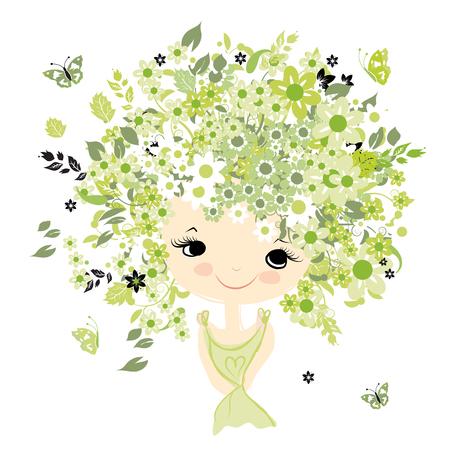 cabello rizado: Retrato femenino con el peinado floral para el diseño, ilustración vectorial