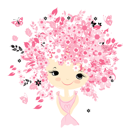 female portrait: Female portrait with floral hairstyle for your design, vector illustration