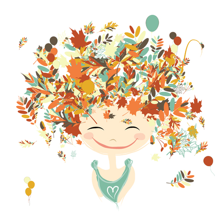 girl face: Female portrait with autumn hairstyle for your design. Vector illustration Illustration