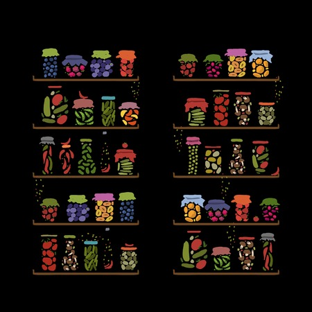 pickle: Shelves with pickle jars for your design. Vector illustration Illustration