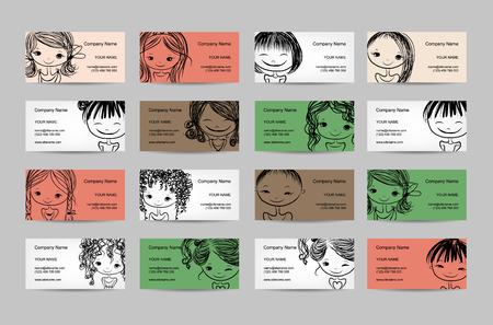 face illustration: Business cards with cute girls for your design, vector illustration