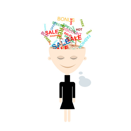 mind: Girl thinks about shopping, abstract concept design. Vector illustration