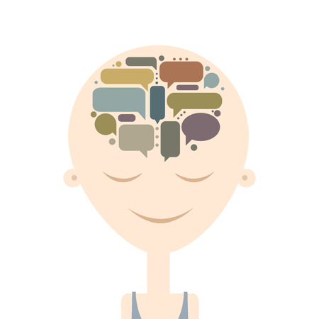 thoughts: Human head and thoughts, concept design. Vector illustration Illustration