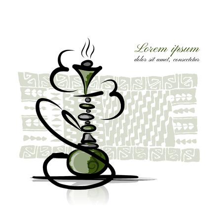 exhale: Hookah sketch for your design. Vector illustration