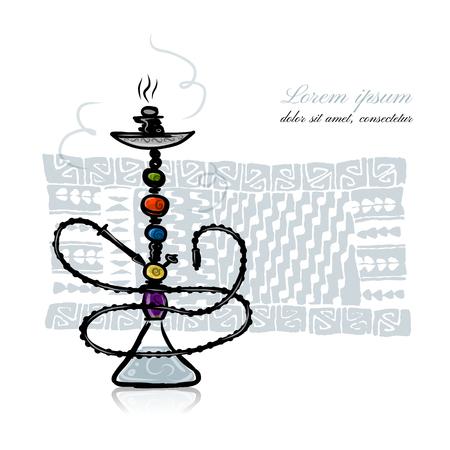 shisha: Hookah sketch for your design. Vector illustration