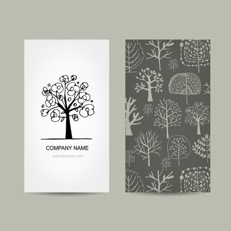 tree design: Business card design, floral tree. Vector illustration Illustration