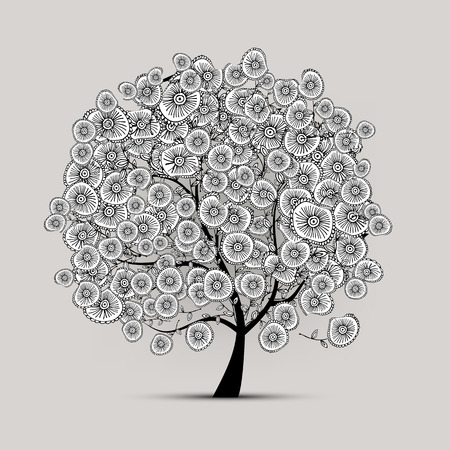 tree of life: Floral tree for your design. Vector illustration