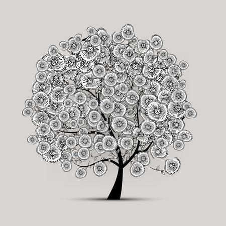 arbol de la vida: Árbol floral para su diseño. Ilustración vectorial