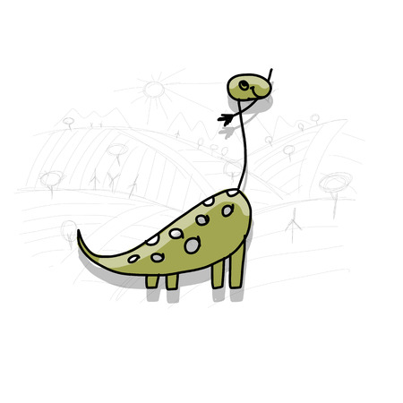 Dinosaur, funny sketch for your design. Vector illustration