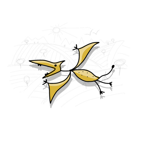 pterodactyl: Dinosaur, funny sketch for your design. Vector illustration