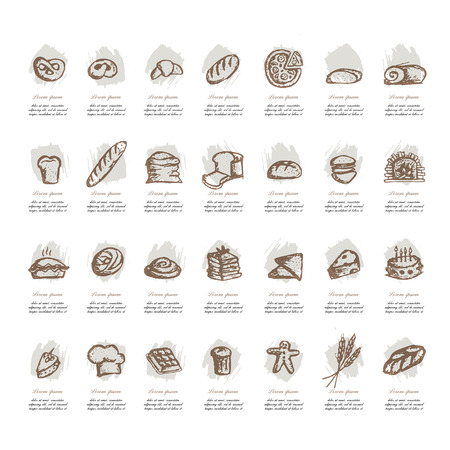 furnace: Bakery collection, sketch for your design. Vector illustration