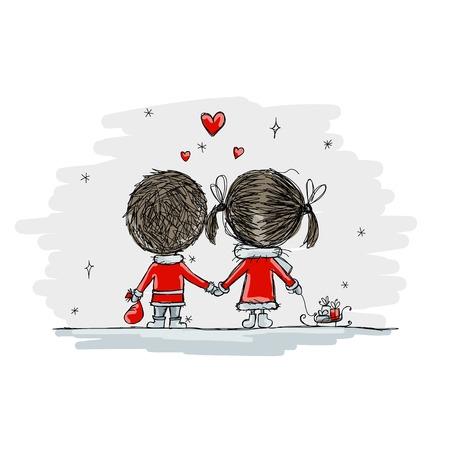 pareja de adolescentes: Pareja en el amor juntos, ilustración de la Navidad para su diseño, vector