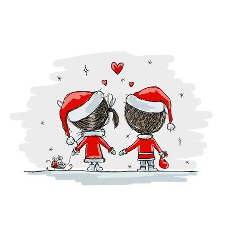 mujer enamorada: Pareja en el amor juntos, ilustración de la Navidad para su diseño, vector