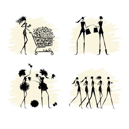 fashion collection: Fashion girls black silhouettes collection. Vector illustration Illustration