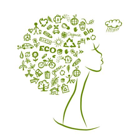 Ecologie concept, vrouwelijke hoofd voor uw ontwerp. vector illustratie