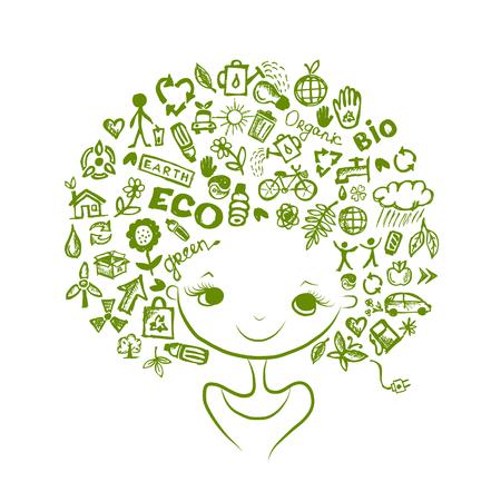 medio ambiente: Concepto de la ecología, cabeza femenina para su diseño. Ilustración vectorial