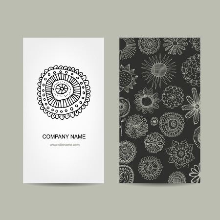 paper art: Business card design. Ornate background, vector illustration