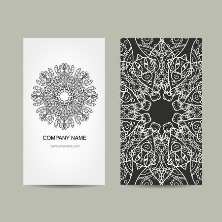 texts: Business card design. Ornate background, vector illustration