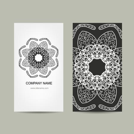 ornamental: Business card design. Ornate background, vector illustration