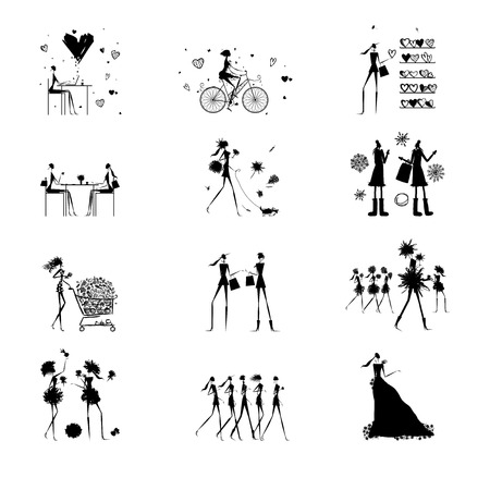 cute illustration: Fashion girls black silhouettes collection. Vector illustration Illustration