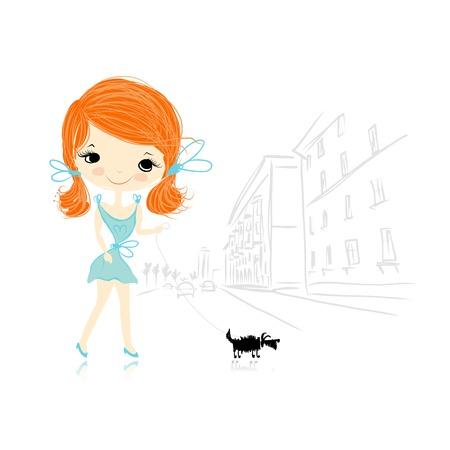 promenade: Girl with dog on street, sketch for your design. Vector illustration Illustration