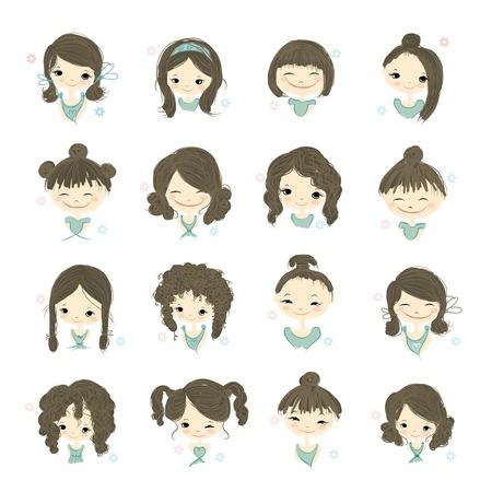 face female: Cute girl smiling, sketch for your design, vector illustration Illustration