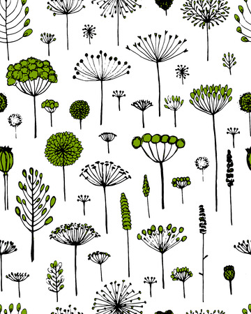 fro: Floral seamless pattern, sketch fro your design. Vector illustration