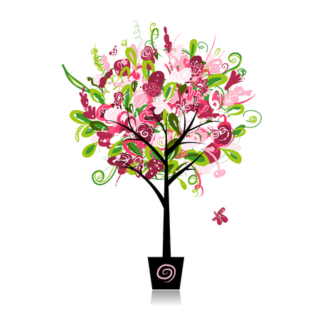 plant pot: Floral tree in the pot for your design, vector illustration