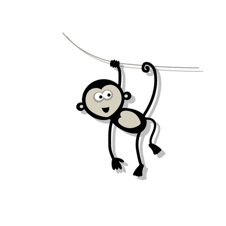 white abstract: Funny monkey for your design. Vector illustration Illustration