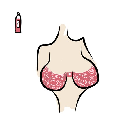 young girl nude: Female breast sketch for your design. Vector illustration Illustration