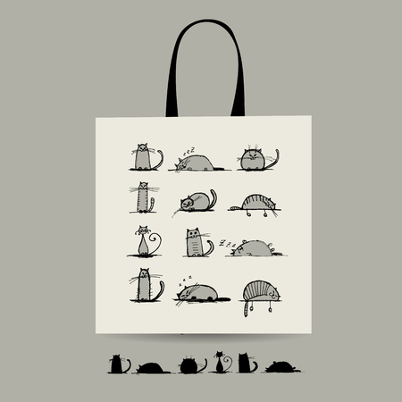 awe: Shopping bag with cats for your design. Vector illustration Illustration