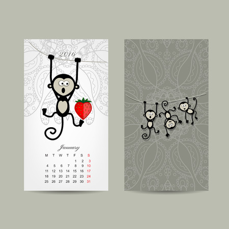 simbolo: Disegno griglia di calendario. Scimmia, simbolo dell'anno 2016. Illustrazione vettoriale Vettoriali
