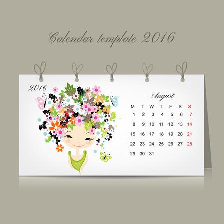 kalendarz: Kalendarz 2016, sierpień miesiącu. Sezon dziewczyny projektowania. Ilustracji wektorowych